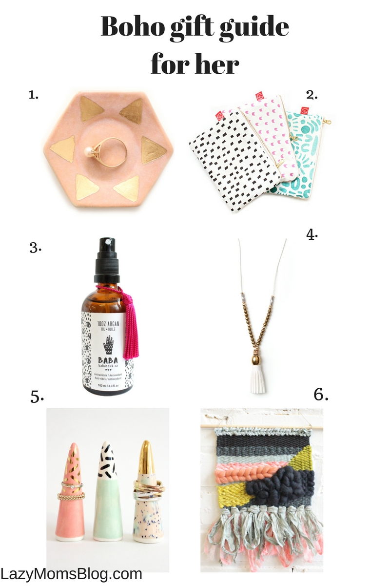 Boho gift guide for her, great gift ideas for ladies on your list!