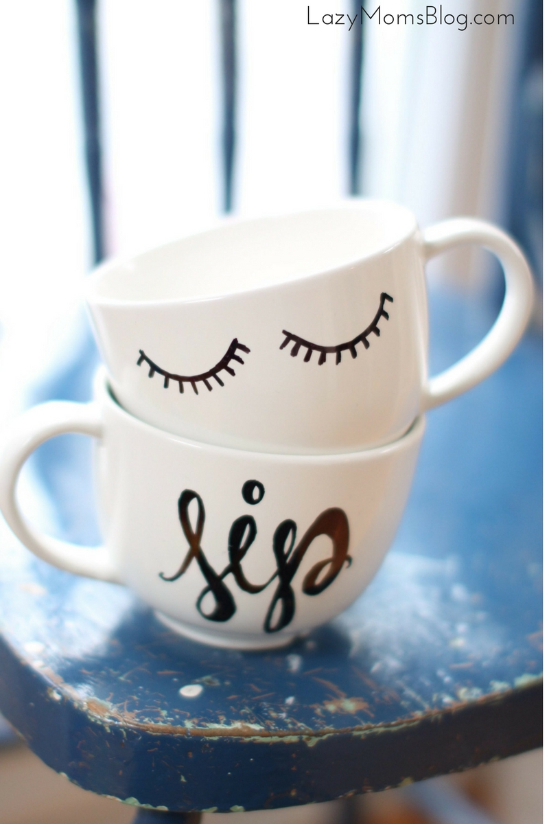 diy calligraphy coffee mug