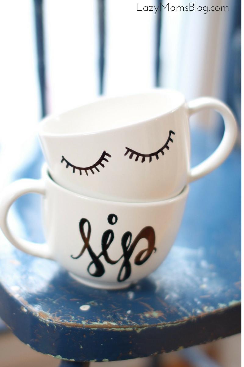 diy calligraphy coffee mug