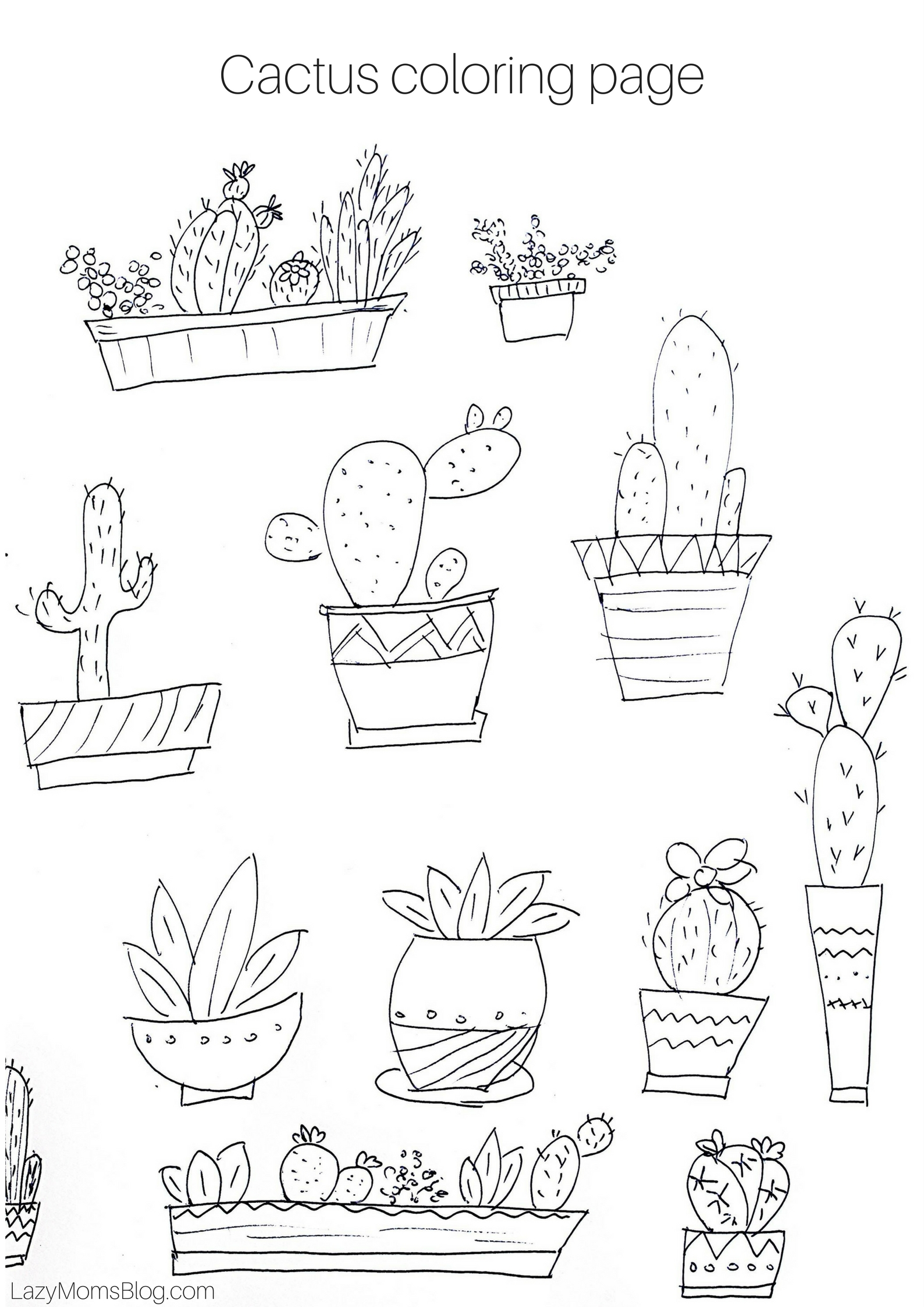Can you afford a spring adventure lazy mom 39 s blog for Cactus coloring pages