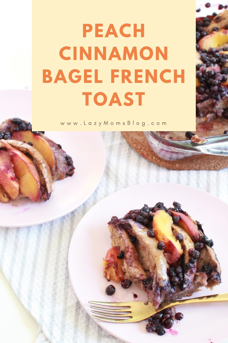 Peach cinnamon bagel french toast
